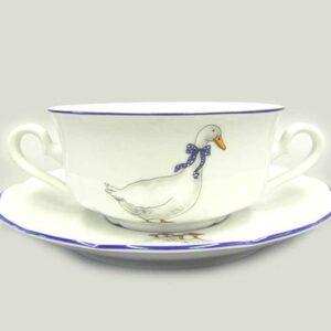 Чашка для супа с блюдцем 350 мл Мэри-Энн Гуси Леандер 0807 2