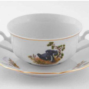 Чашка для супа с блюдцем 350 мл Мэри-Энн Охотничьи сюжеты Леандер 0363 2