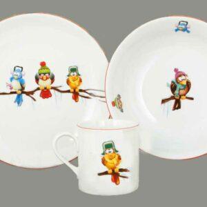 Детский сервиз 3 предмета Смешные птички Леандер 2361 2