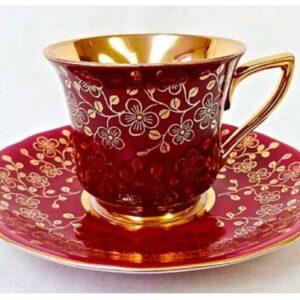 Кофейная пара 100 мл Виндзор Золотые цветы бордовый Леандер A341 2