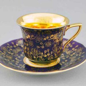 Кофейная пара 100 мл Виндзор Золотые цветы фиолет Леандер D341 2