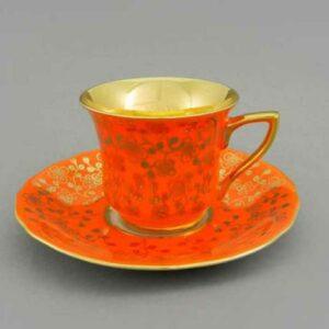 Кофейная пара 100 мл Виндзор Золотые цветы оранжевый Леандер J341 2