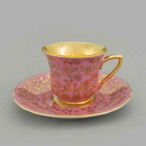 Кофейная пара 100 мл Виндзор Золотые цветы, розовый Леандер K341 2