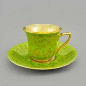 Кофейная пара 100 мл Виндзор Золотые цветы салатовый Леандер H341 2