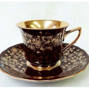 Кофейная пара 100 мл Виндзор Золотые цветы шоколад Леандер E341 2