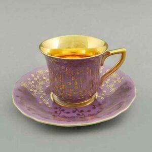 Кофейная пара 100 мл Виндзор Золотые цветы сирень Леандер G341 2