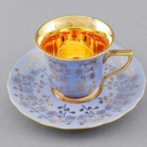 Кофейная пара 100 мл Виндзор Золотые цветы светло-синий Леандер I341 2