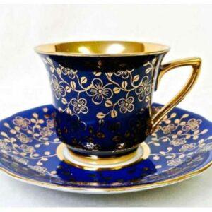 Кофейная пара 100 мл Виндзор Золотые цветы темно-синий Леандер C341 2