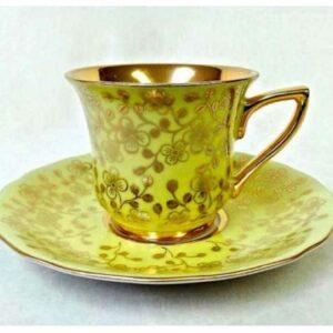 Кофейная пара 100 мл Виндзор Золотые цветы желтый Леандер L341 2