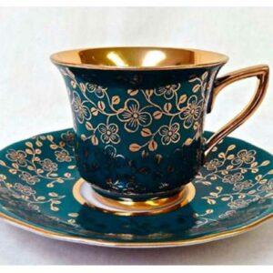 Кофейная пара 100 мл Виндзор Золотые цветы,зеленый Леандер B341 2