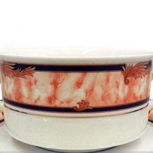 Набор чашек для супа с блюдцами 300 мл Сабина Мрамор кобальт Леандер 05042