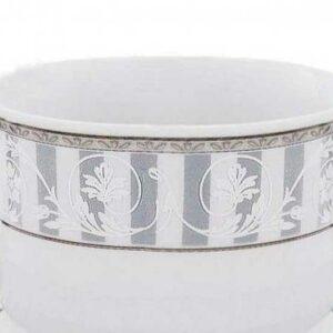 Набор чашек для супа с блюдцами 300 мл Сабина Серый орнамент Леандер 1013 2