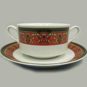 Набор чашек для супа с блюдцами 300 мл Сабина Версаче Красная лента Леандер B979 2