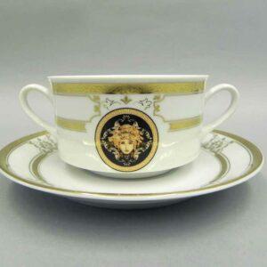 Набор чашек для супа с блюдцами 300 мл Сабина Версаче Золотая лента Леандер A126 2