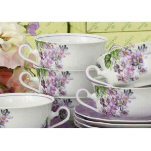 Набор чашек для супа с блюдцами 350 мл Мэри-Энн Лиловые цветы Леандер 2391 2
