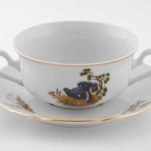 Набор чашек для супа с блюдцами 350 мл Мэри-Энн Охотничьи сюжеты Леандер 0363 2