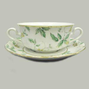 Набор чашек для супа с блюдцами 350 мл Мэри-Энн Зеленые листья Леандер 1381 2