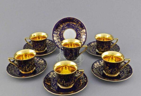 Набор кофейных чашек с блюдцами 100 мл Виндзор Золотые цветы Леандер D3412