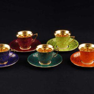 Набор кофейных чашек с блюдцами 150 мл Виндзор Золотые цветы Леандер 0341 2