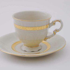 Набор кофейных пар 150 мл слоновая кость Соната Золотая лента Леандер 1239 2