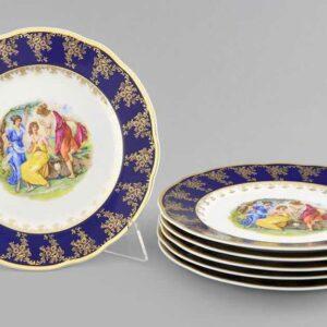 Набор тарелок мелких 25 см Мэри-Энн Мадонна кобальт Леандер 01792