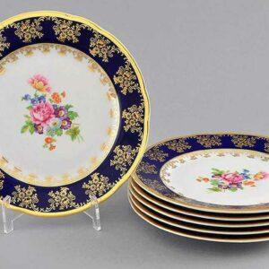 Набор тарелок мелких 25 см Мэри-Энн Мелкие цветы кобальт Леандер 0086 2