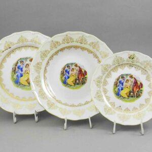 Набор тарелок Верона Мадонна золото Леандер 1907 2
