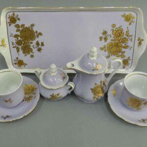 Подарочный набор кофейный Тет-а-тет Мэри-Энн Золотая роза фиолет Леандер 287D 2