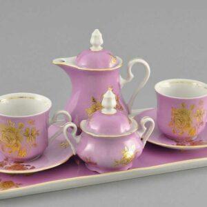 Подарочный набор кофейный Тет-а-тет Мэри-Энн Золотая роза розовый Леандер 287C 2
