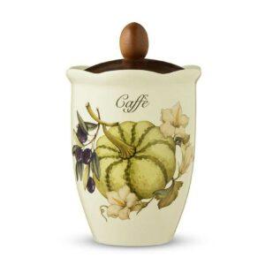Банка с деревянной крышкой для кофе 19см Тыква artigianato ceramico 2