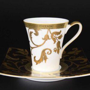 Набор чайных пар 220 мл квадратный Tosca Black Gold Falkenporzellan 2