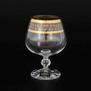 Набор бокалов для коньяка 250 мл Золотой лист Клаудиа Кристалайт Богемия1