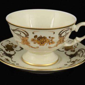 Набор чайных пар 250 мл Золотые розы Royal Czech Porcelain 2