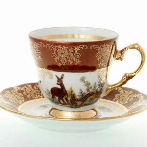 Набор кофейных пар 140 мл Охота красная Корона Queen's Crown 2