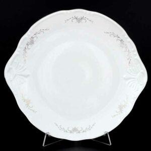 Тарелка для торта 27 см Констанция Серый орнамент Отводка платина Thun 2