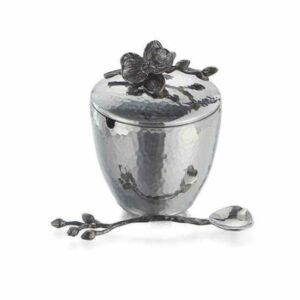 Ёмкость для мёда с ложкой Michael Aram Чёрная орхидея 11см серебрист 2