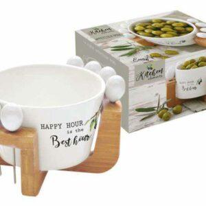 Набор для закуски чаша для оливок + 8 шпажек на подставке Kitchen Elements Easy Life (R2S) 2