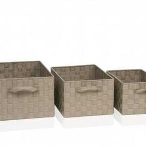 Набор из трех корзин картон и текстиль Andrea House