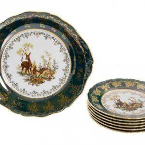 Набор для десерта Царская Зеленая Охота Royal Czech Porcelain 1