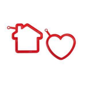 Форма для яичницы Silikomart Сердце и дом 13х12,4см красная 1