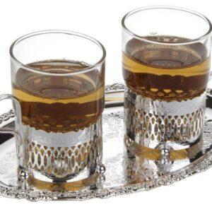 Набор стаканов с подстаканниками на подносе Queen Anne 23х19см сталь посеребрение 2шт 1