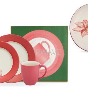 Наборы посуды с подарками Noritake Цветная волна малиновый широкий борт 42шт
