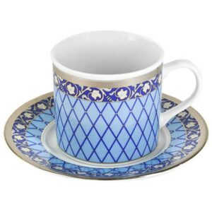 Чашка с блюдцем Thun Cairo Сетка на синем платина 170 млx135 см2